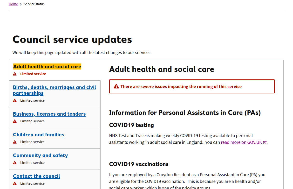 Screenshot of Croydon's Service status page, showing all the Council's Service's Statuses grouped by Service