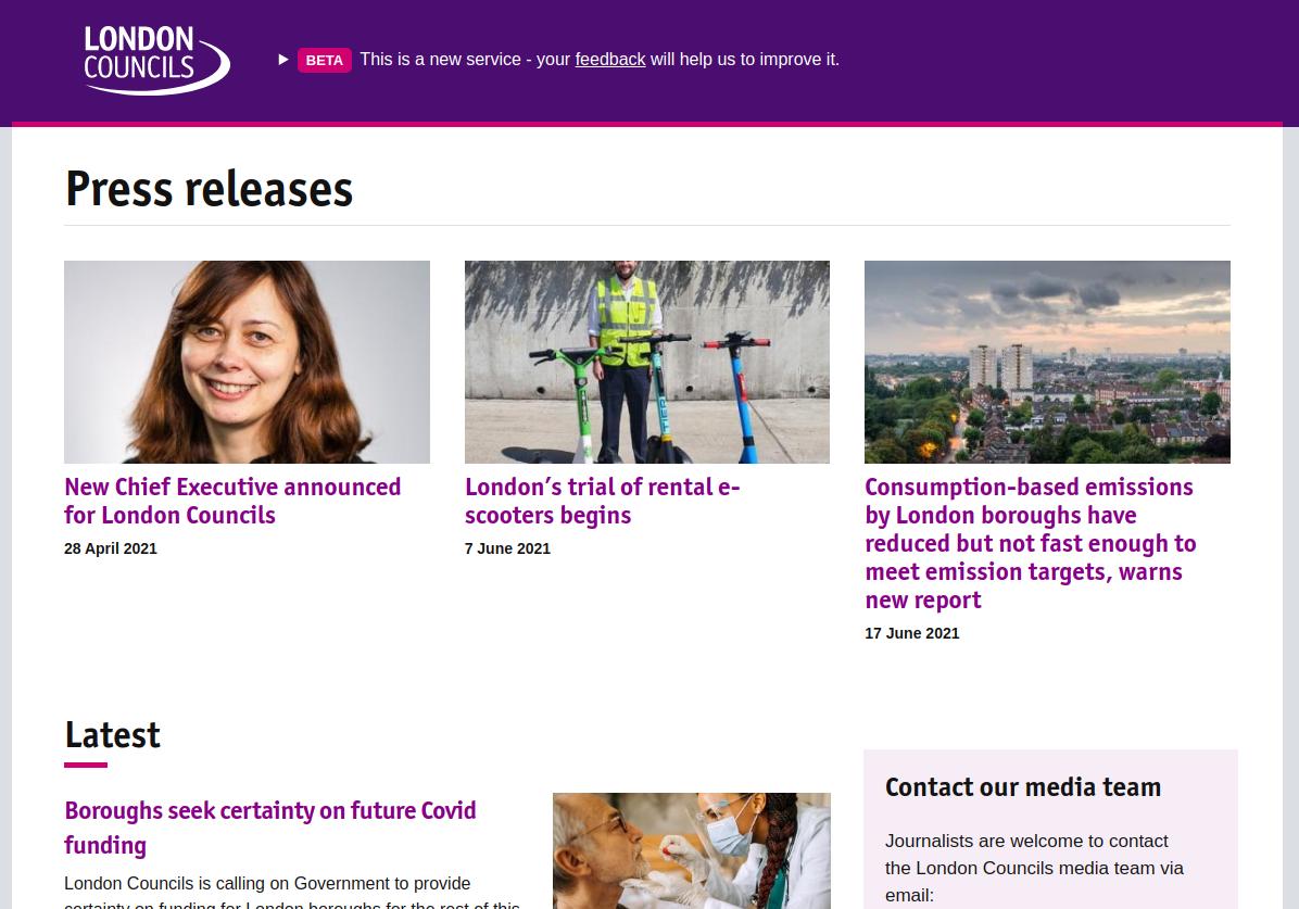 London Councils Newsroom, description below