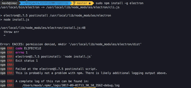 npm install electron failing at the electron@1 4 15 postinstall