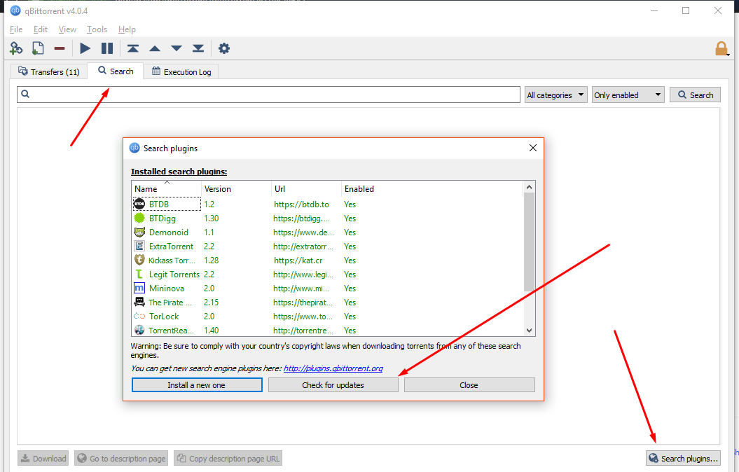 qbittorrent search engine plugins