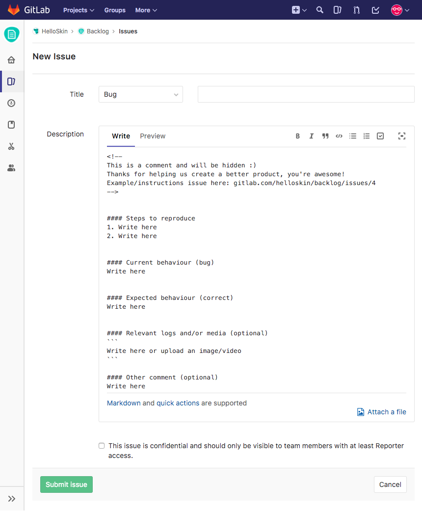 gitlab com_helloskin_backlog_issues_new_issuable_template bug