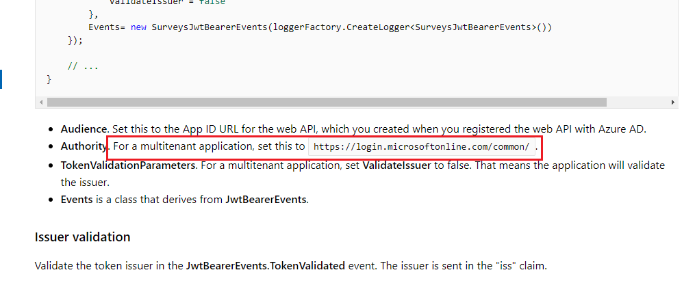 Invalid Azure AD Token Issuer Listed in MSDN Docs? · Issue