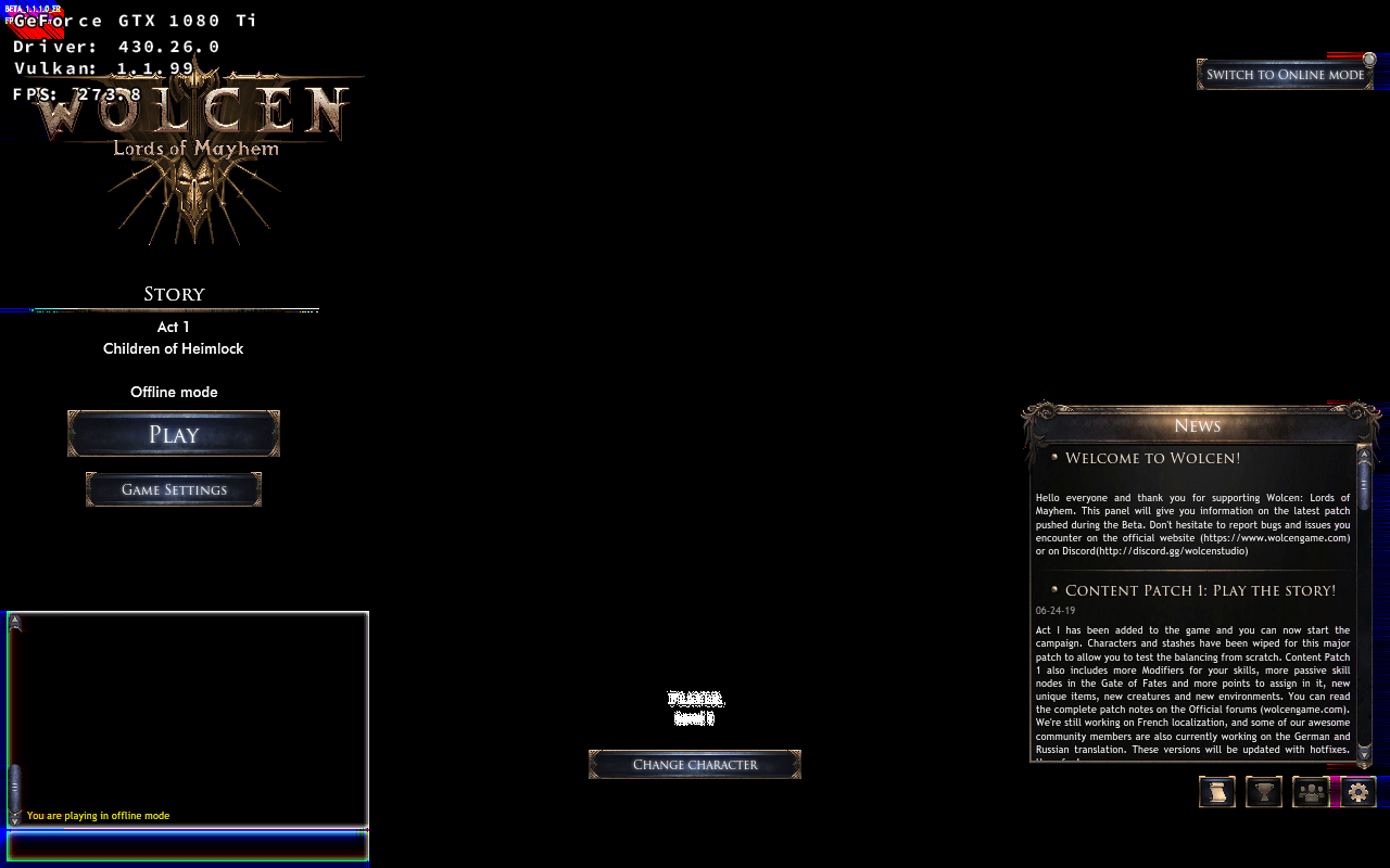Wolcen: Lords of Mayhem - Rendering issues in main menu
