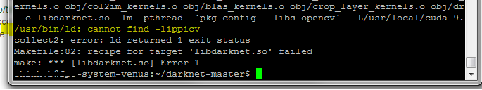 usr/bin/ld: cannot find -lippicv collect2: error: ld returned 1 exit
