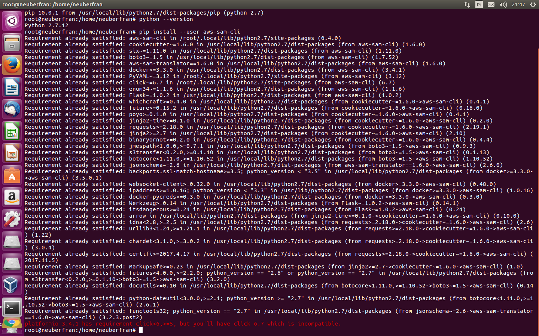 I can't install aws-sam-cli (sam init helloworld) using