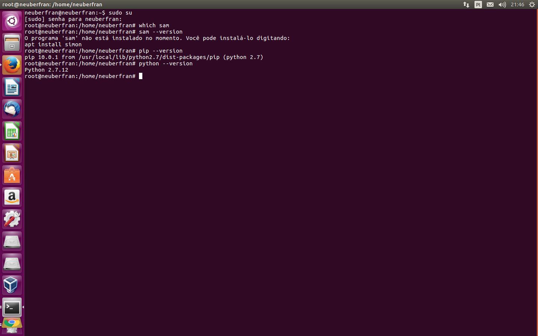I can't install aws-sam-cli (sam init helloworld) using python 3 5