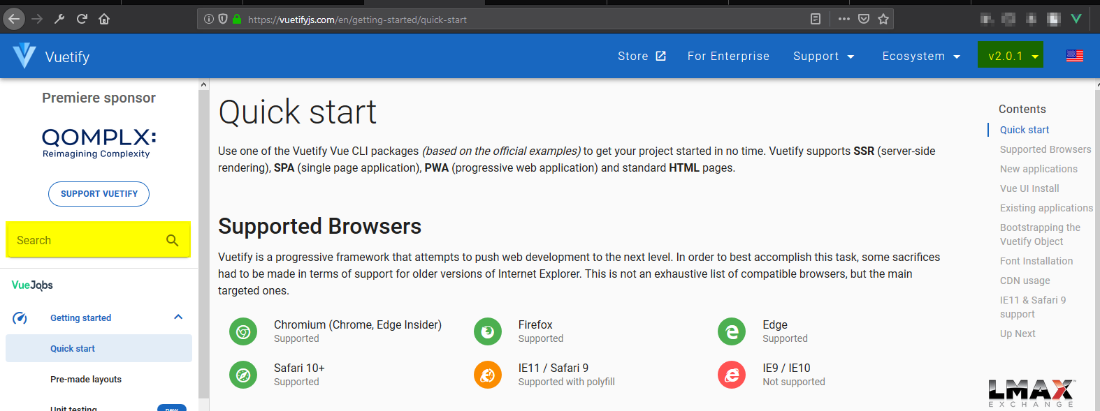 Documentation] No searchbar for v1 5 documentation · Issue #8034