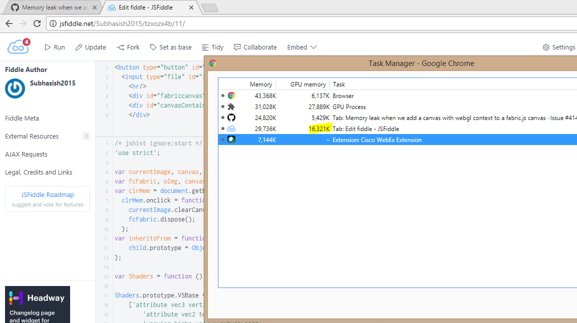Memory leak when we add a canvas with webgl context to a fabric js