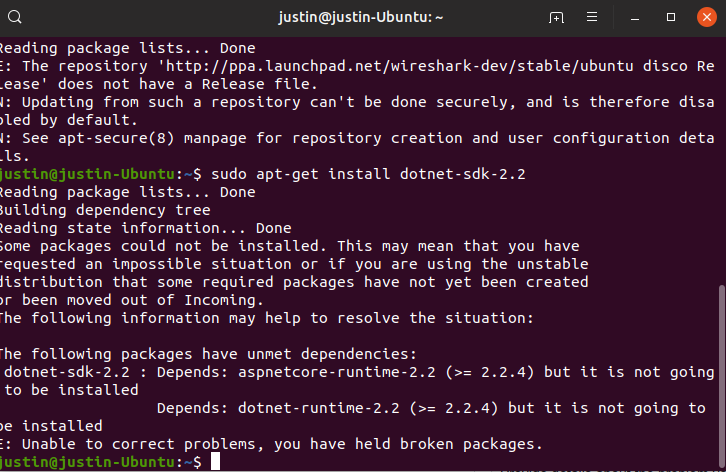 Can't Install Dot Net Core on Ubuntu 19 04 · Issue #2612