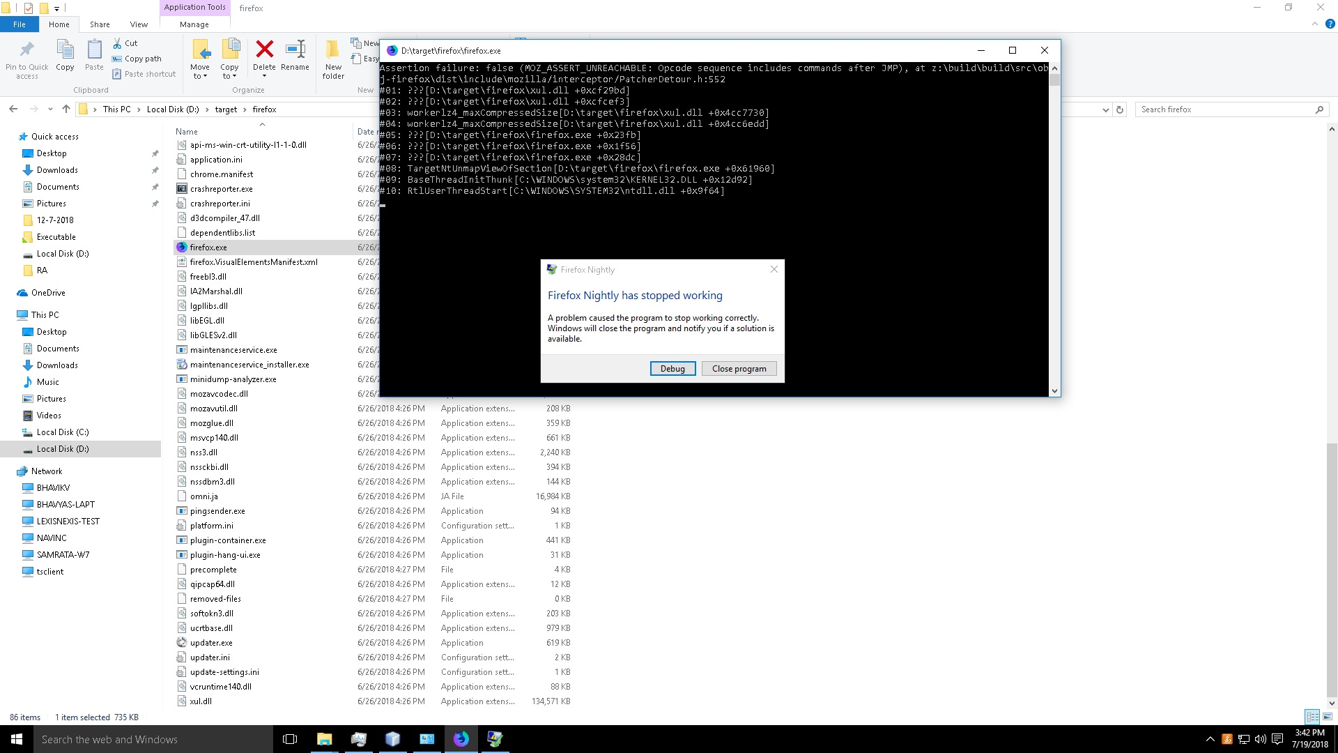 Connection refused error because the GFX sanity window of Firefox