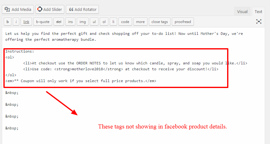 HTML Tags Stripped from Product Description · Issue #439