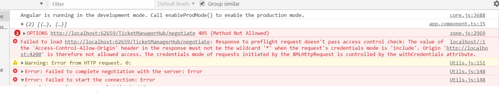 SignalR Javascript client CORS issue 'Access-Control-Allow-Origin