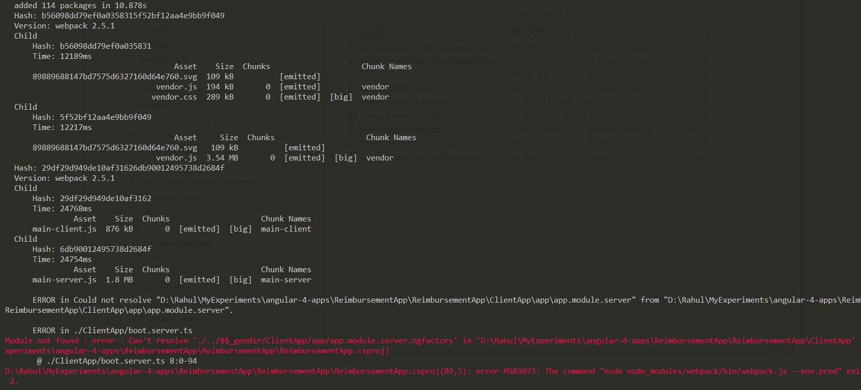 ERROR in  /ClientApp/boot server ts Module not found : error : Can't