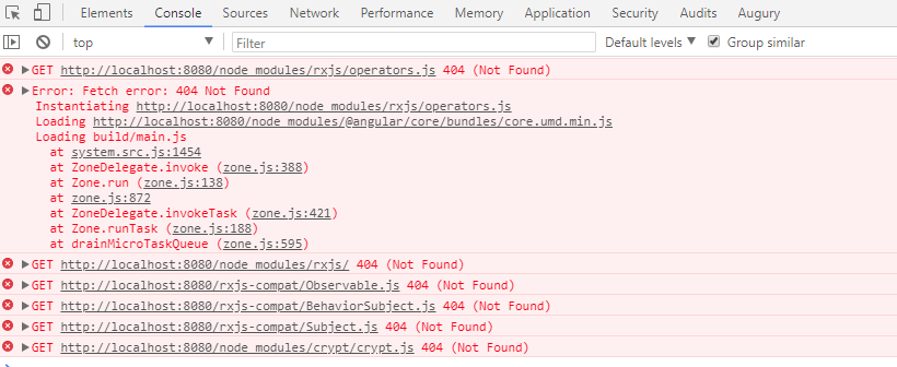 upgrading to rxjs to 6 0 0-beta 1 fails with Error: Can't