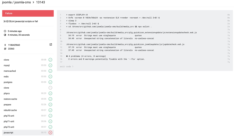 Joomla! Issue Tracker   Joomla! CMS #23363 - [4 0] ESLint javascript
