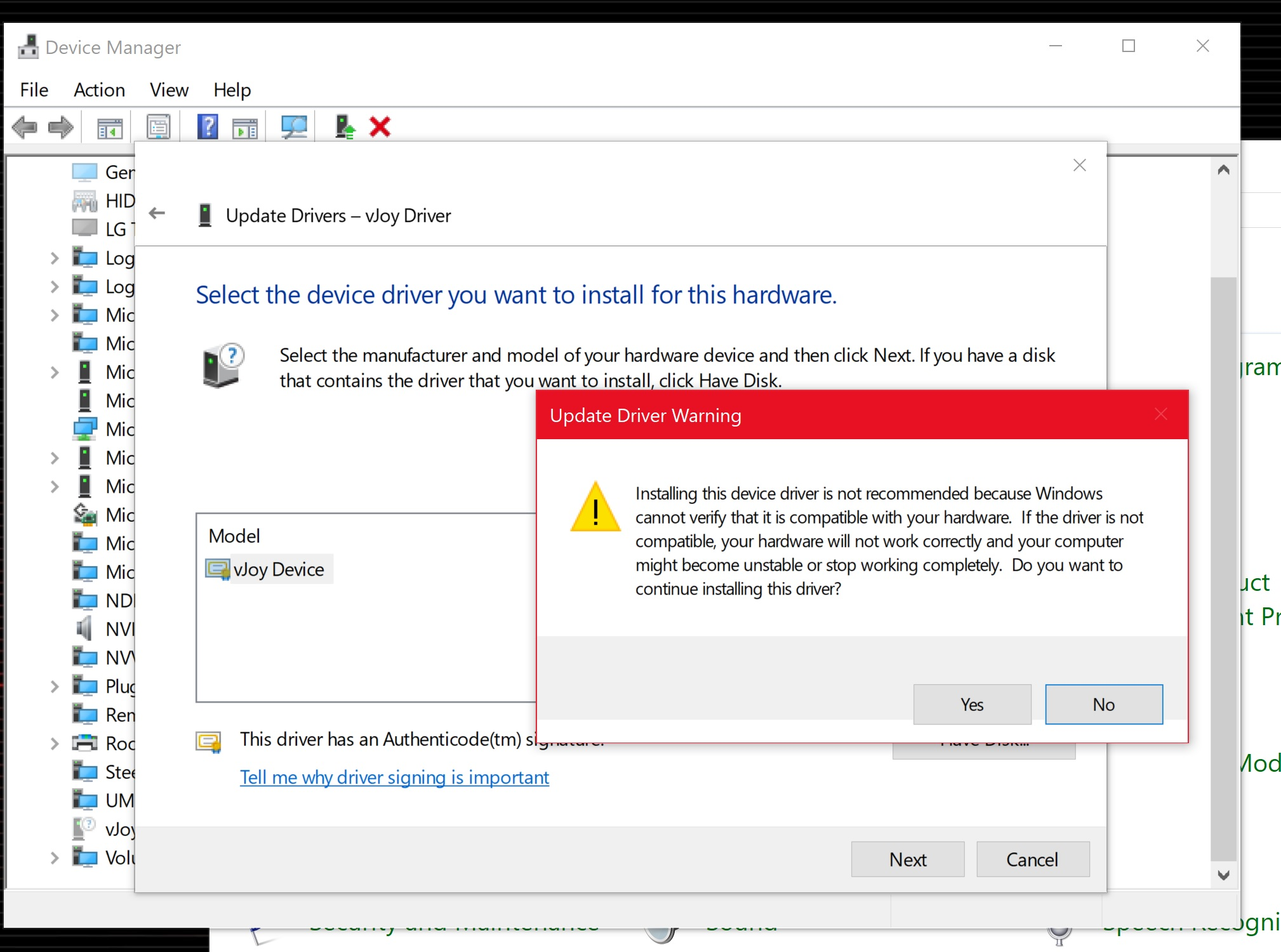 vJoy fails in Windows 10 1803 and won't install either · Issue #20