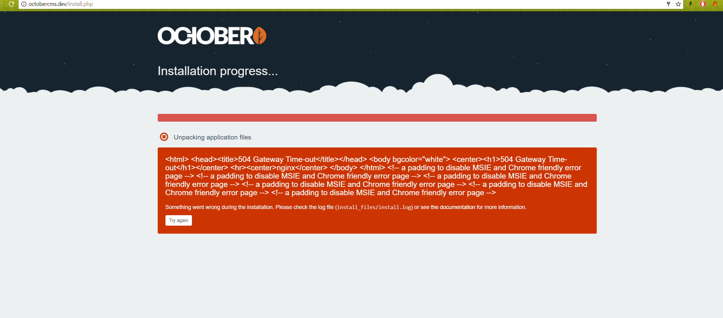 504 Gateway Timeout on Install · Issue #3176 · octobercms