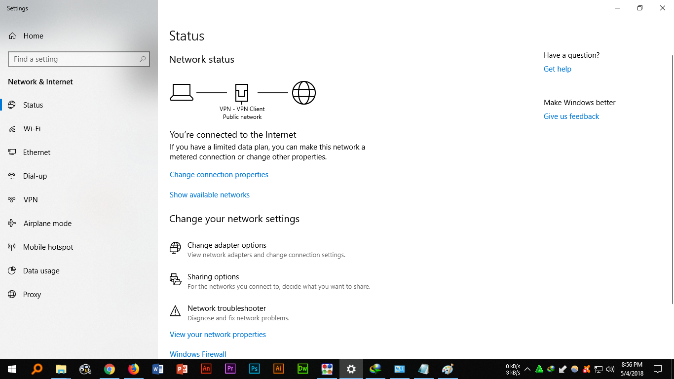 VPN Client Adapter Not detected as ethernet connection in Windows 10