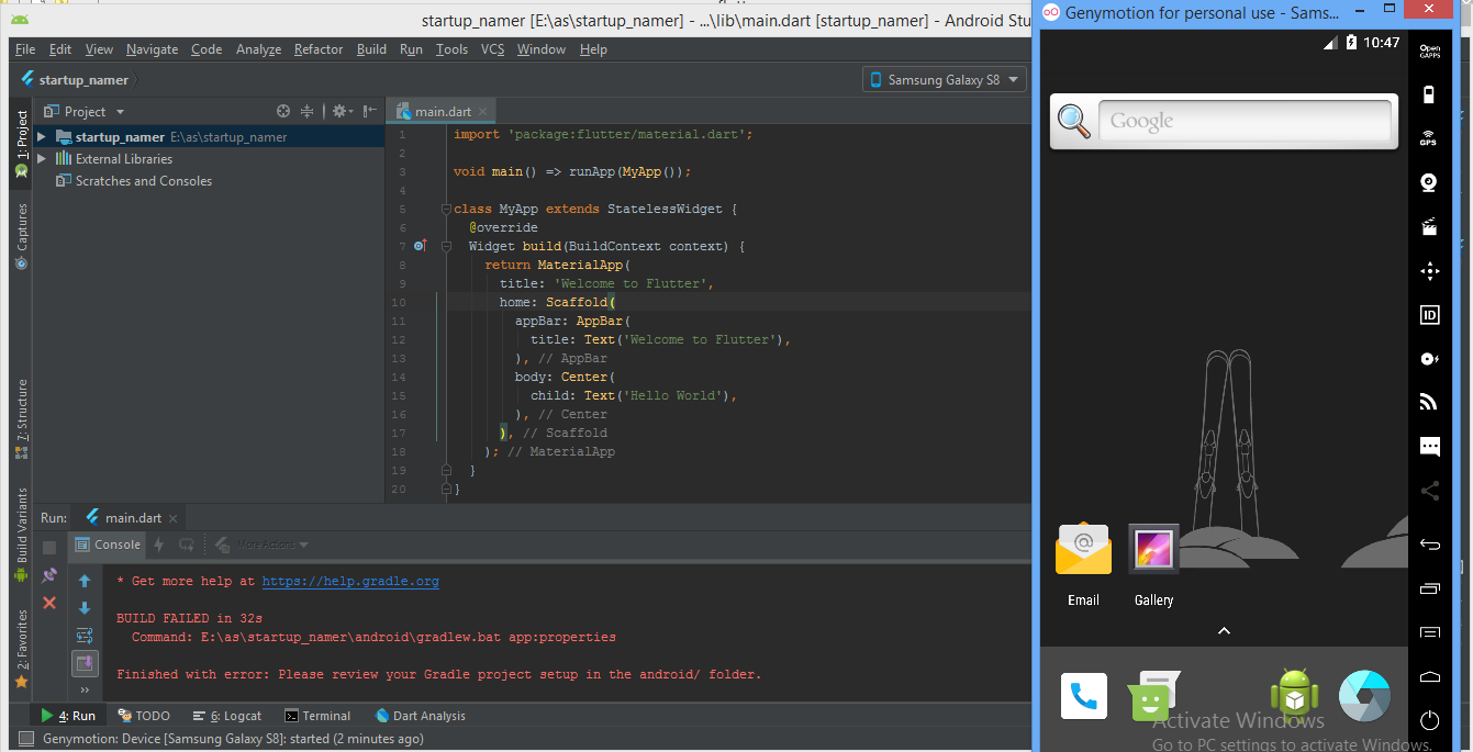 Can't run my first flutter app [Error running Gradle] · Issue #23777