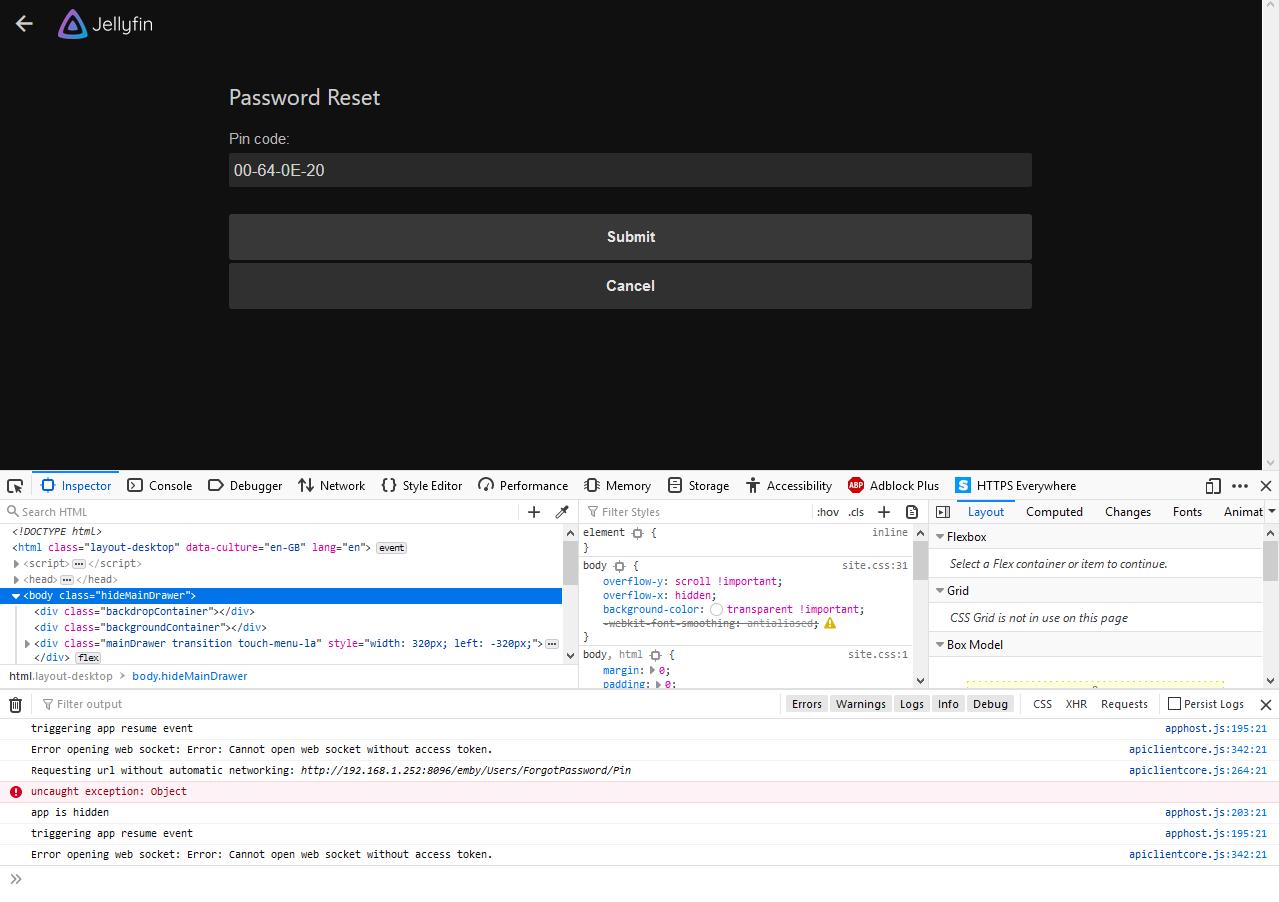 Crash when Resetting Password · Issue #1577 · jellyfin/jellyfin · GitHub