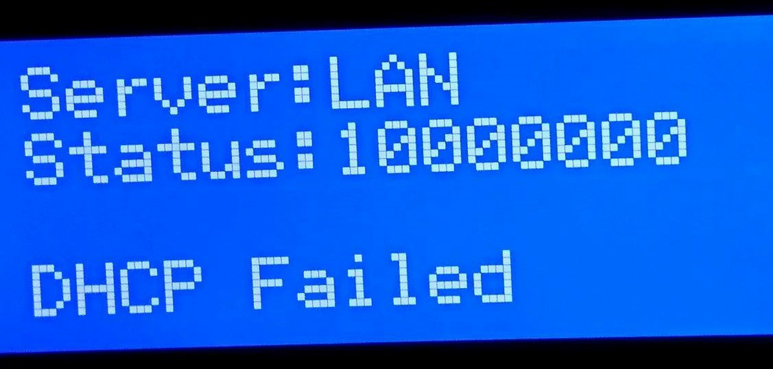 Ethernet active, DHCP failed and keyerror: broadcast · Issue