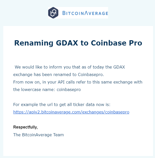 BitcoinAverage: Gdax renamed to Coinbase Pro · Issue #913