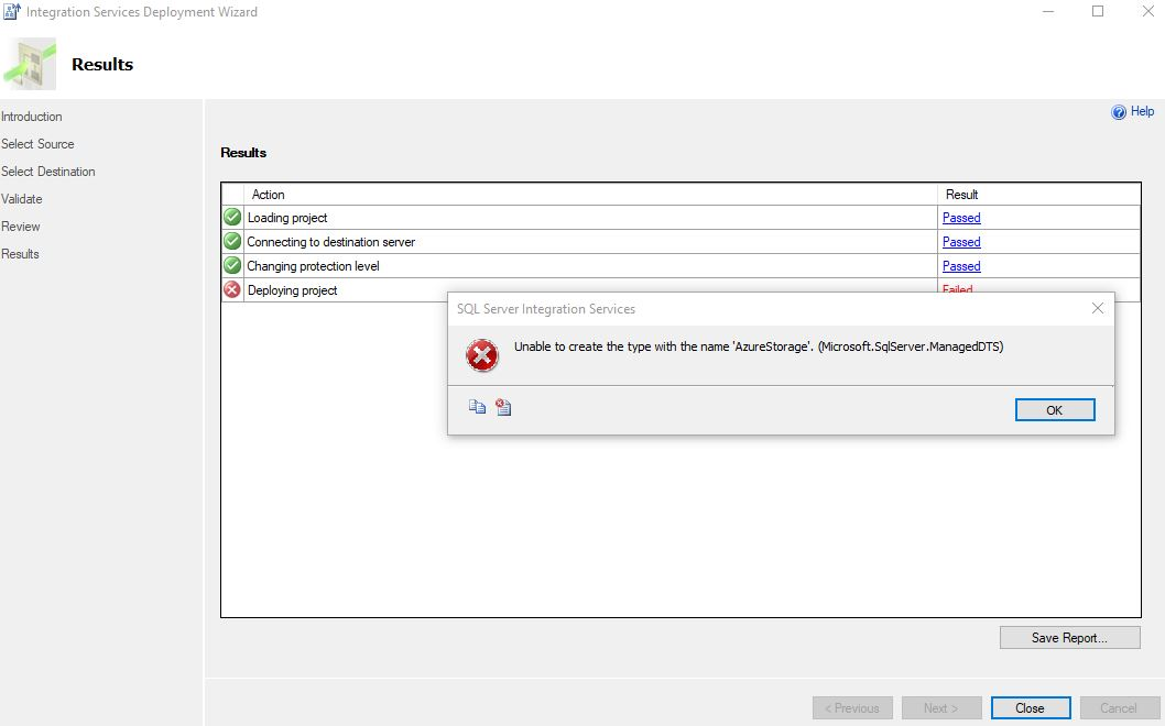Lab2 Error while deploying SSIS Package in Data Factory 2
