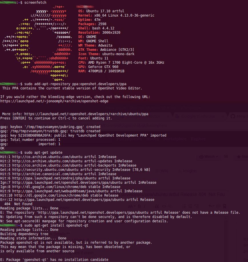 Err:12 http://ppa launchpad net/openshot developers/ppa/ubuntu