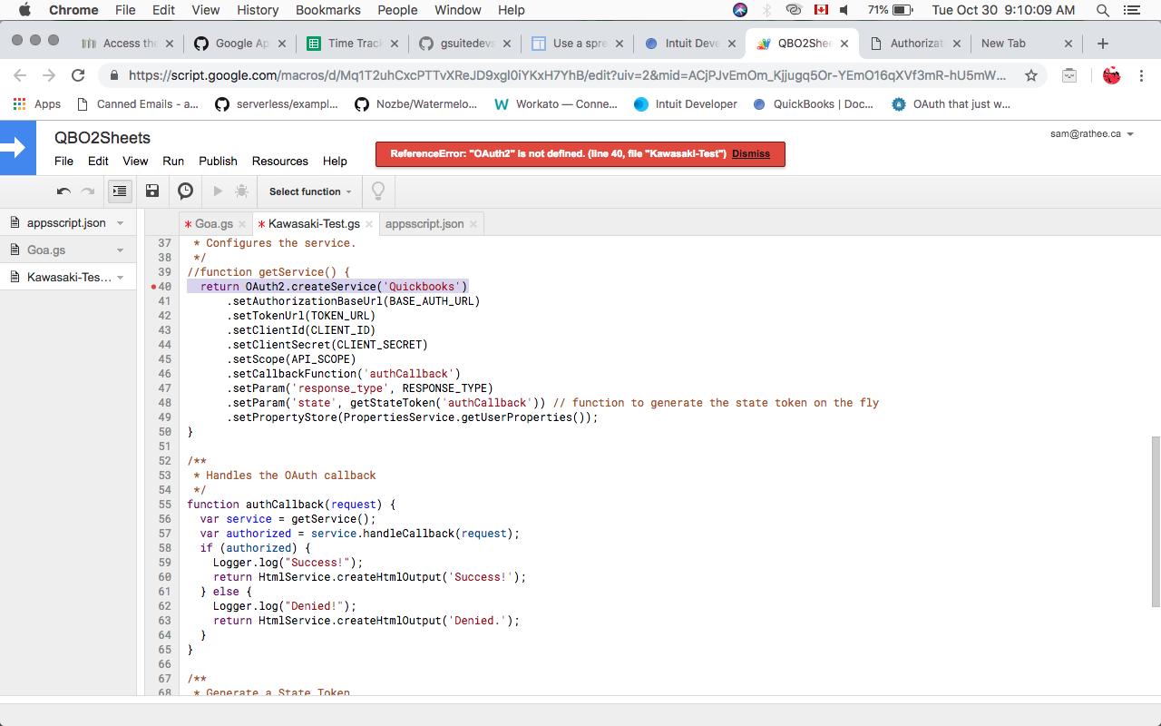 Google Apps Script OAuth2 script for QuickBooks integration