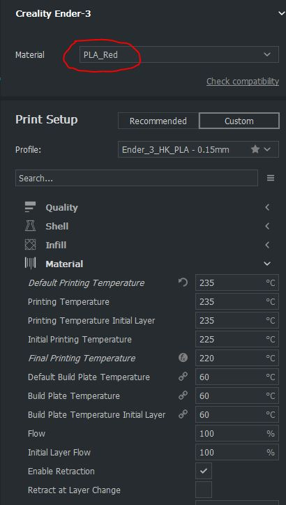 Unable to save printer settings to material profiles