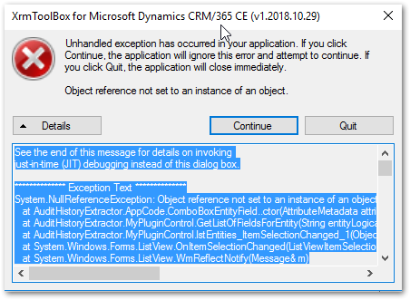 Error thrown when I click an item from the entity list