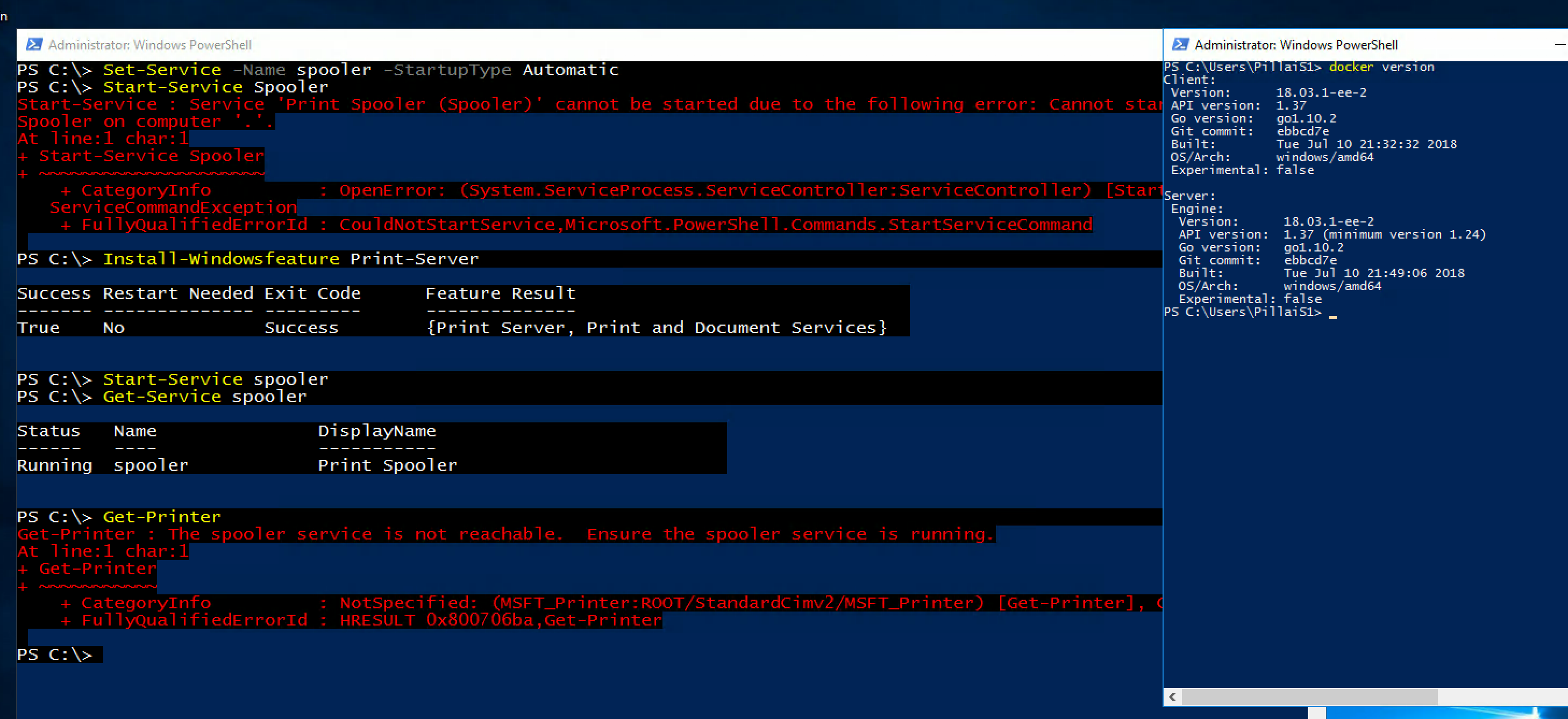 Windows Container - spooler service crashes without warning