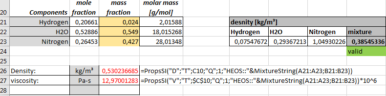 Calculating density and viscosity of a gas mixture in excel