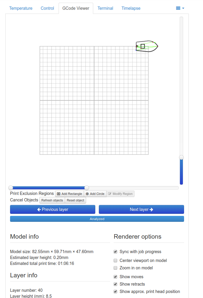 GCode Viewer: part shown in the top right corner · Issue