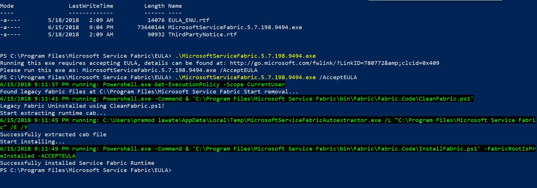 Install Error: How to install Service Fabric Runtime Version