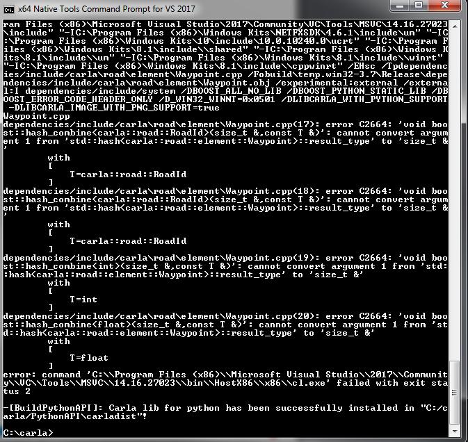 make PythonAPI - Waypoint cpp build error · Issue #1629