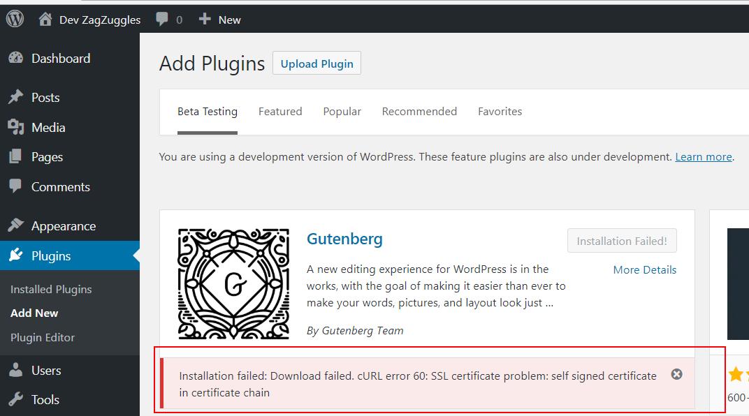 Installation Failed Download Failed Curl Error 60 Ssl Certificate