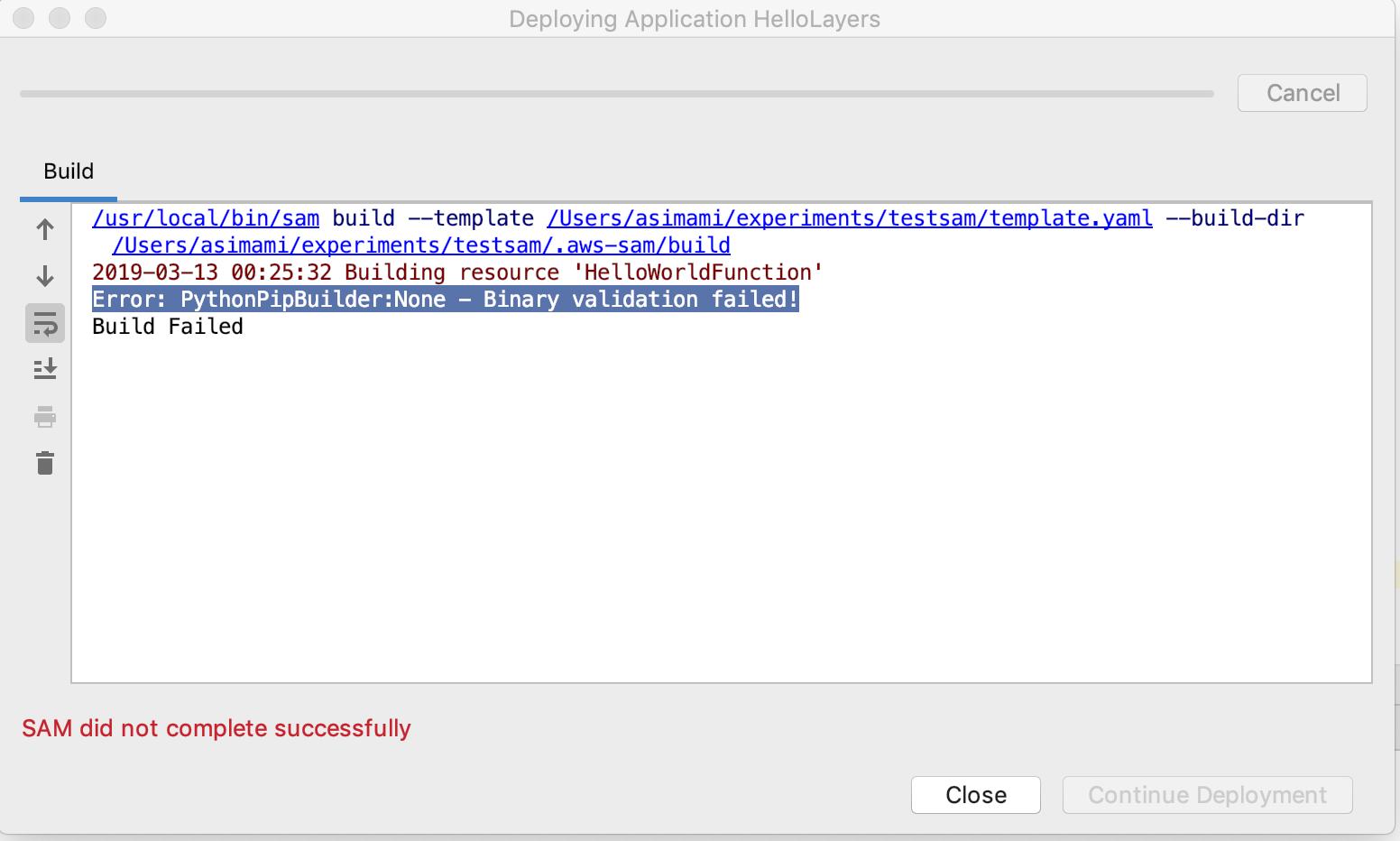 Error: PythonPipBuilder:None - Binary validation failed
