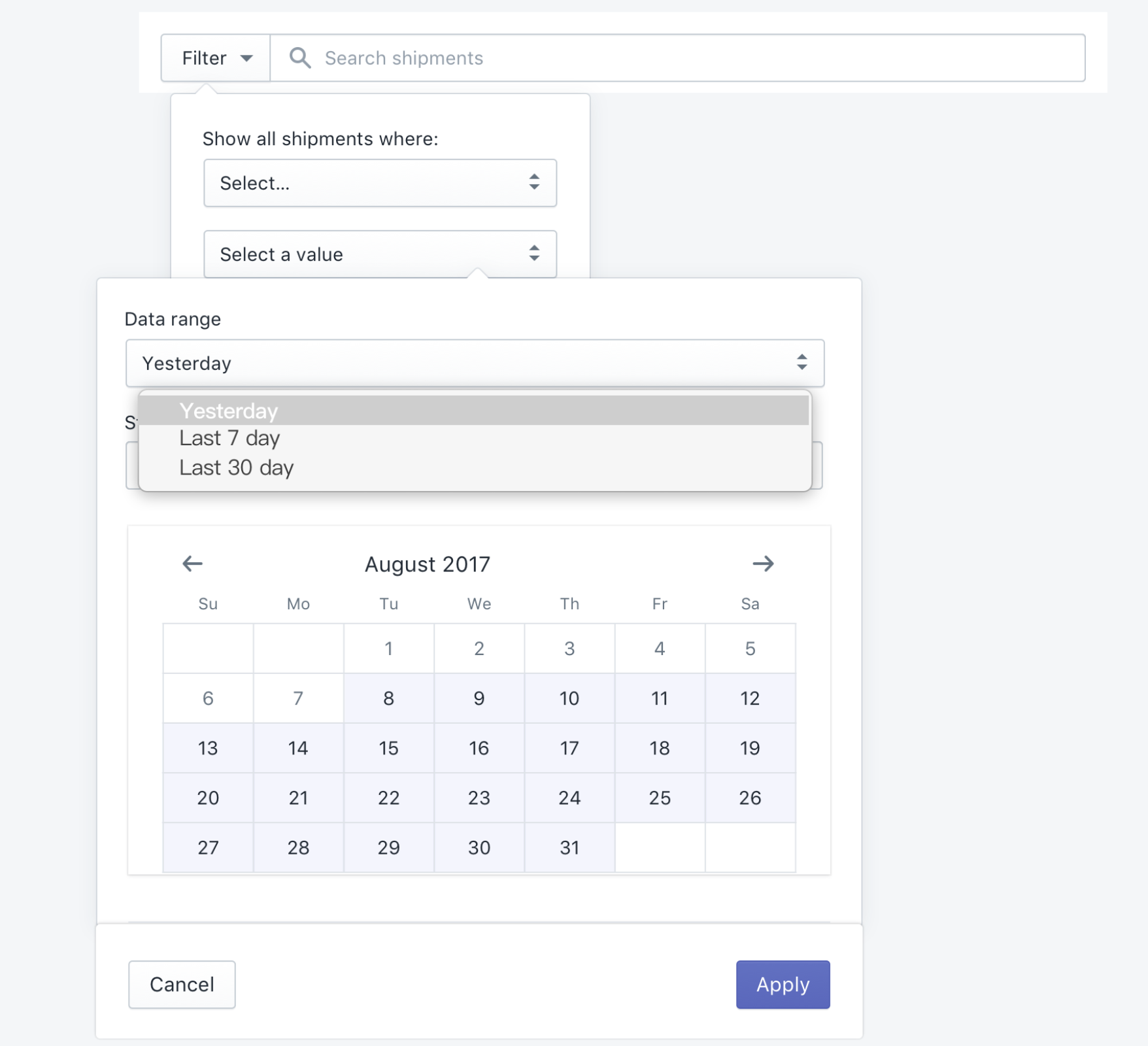 Add date picker to filter · Issue #405 · Shopify/polaris