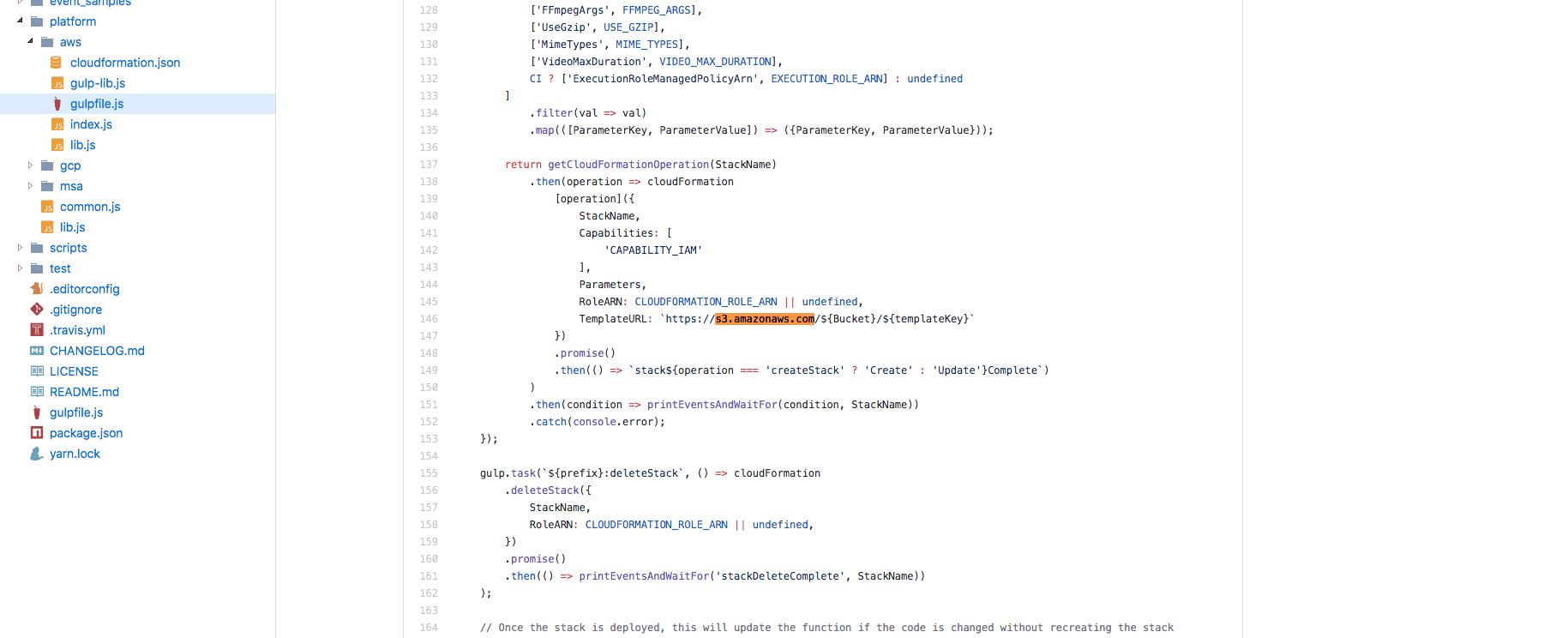 in aws platform , run gulp aws:deployStack get error · Issue