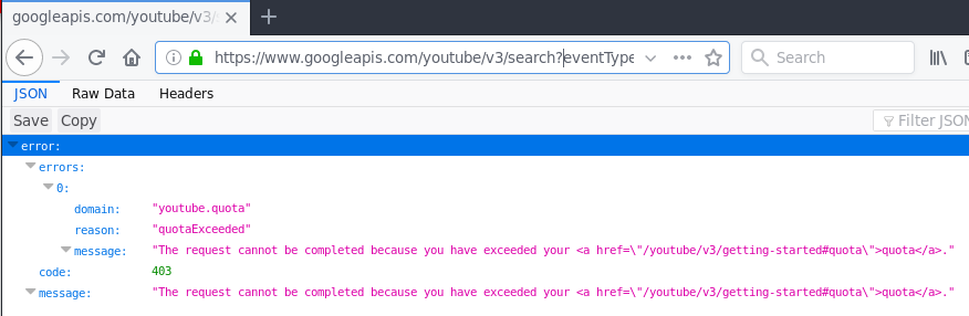 Youtube API returns 403 forbidden error (exceeded quota) most of the