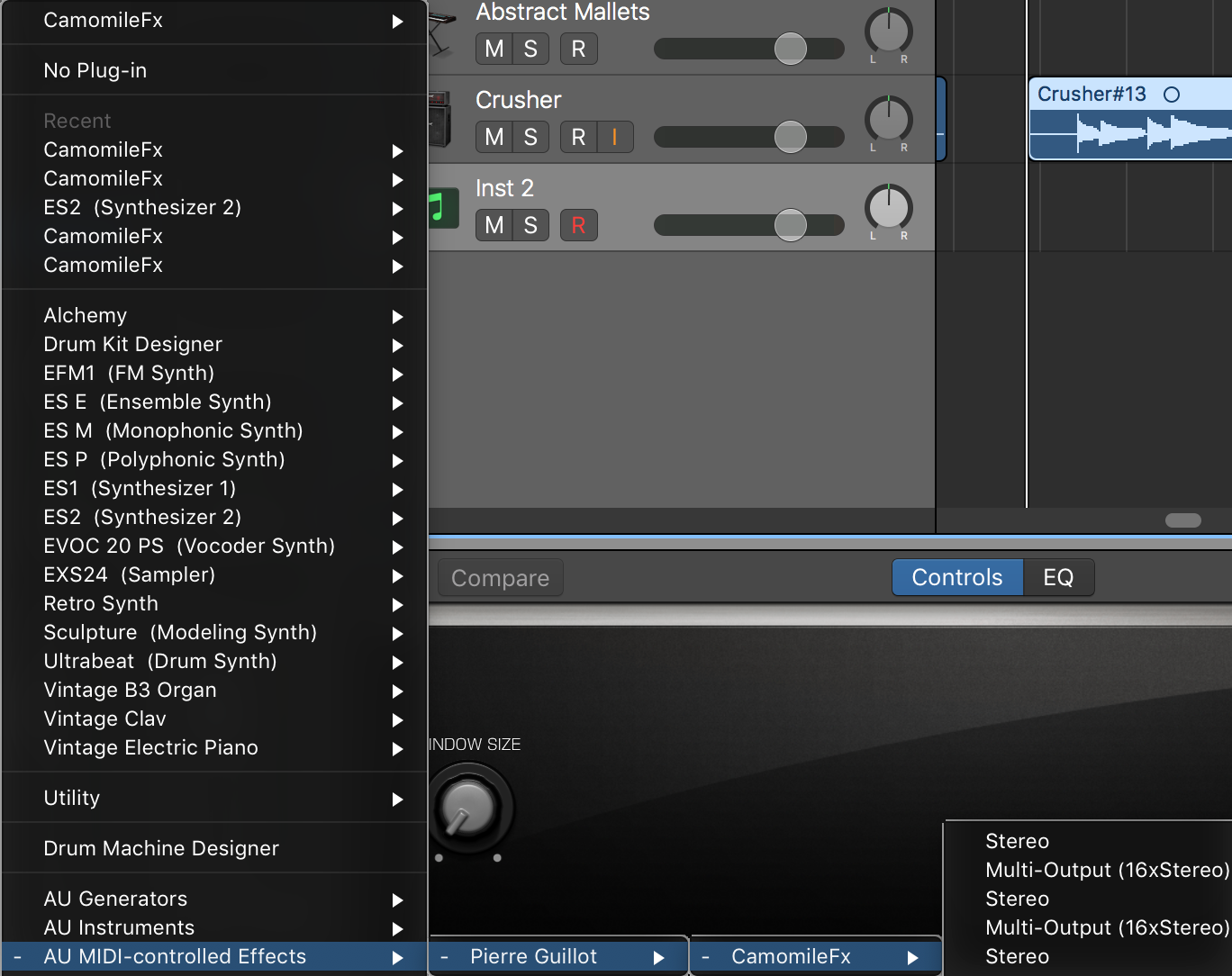 CamomileFX shows up as a Software Instrument in Logic Pro X 10 3 2