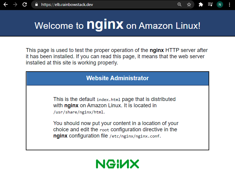 nginx default web page