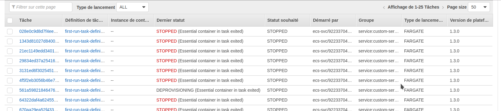 No logs for STOPPED(Essential container in task exited) · Issue
