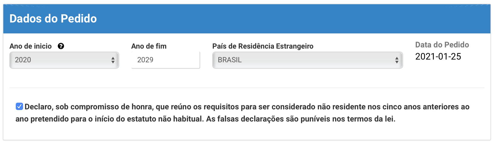 formulário de pedido de RNH