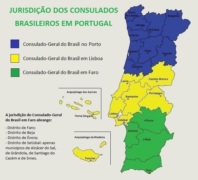 Jurisdição dos consulados brasileiros em Portugal