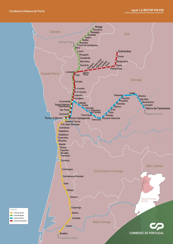 Mapa dos Comboios Urbanos do Porto