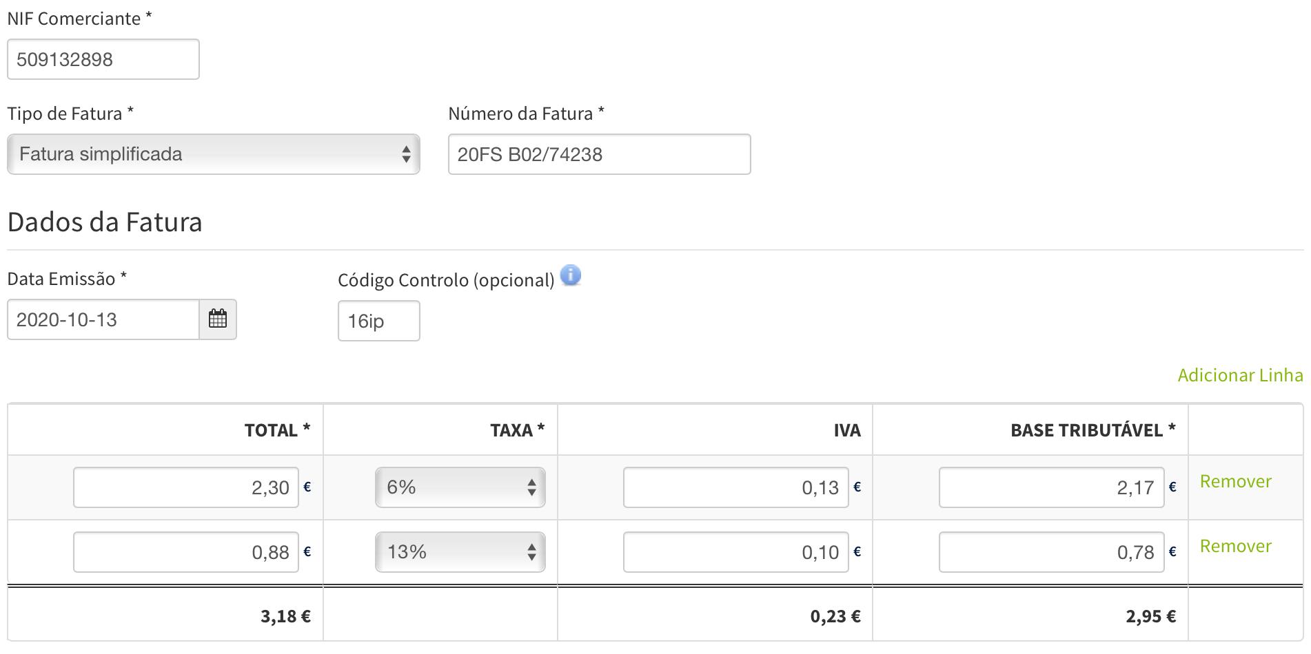 Captura de tela do portal e-Fatura com as informações digitadas