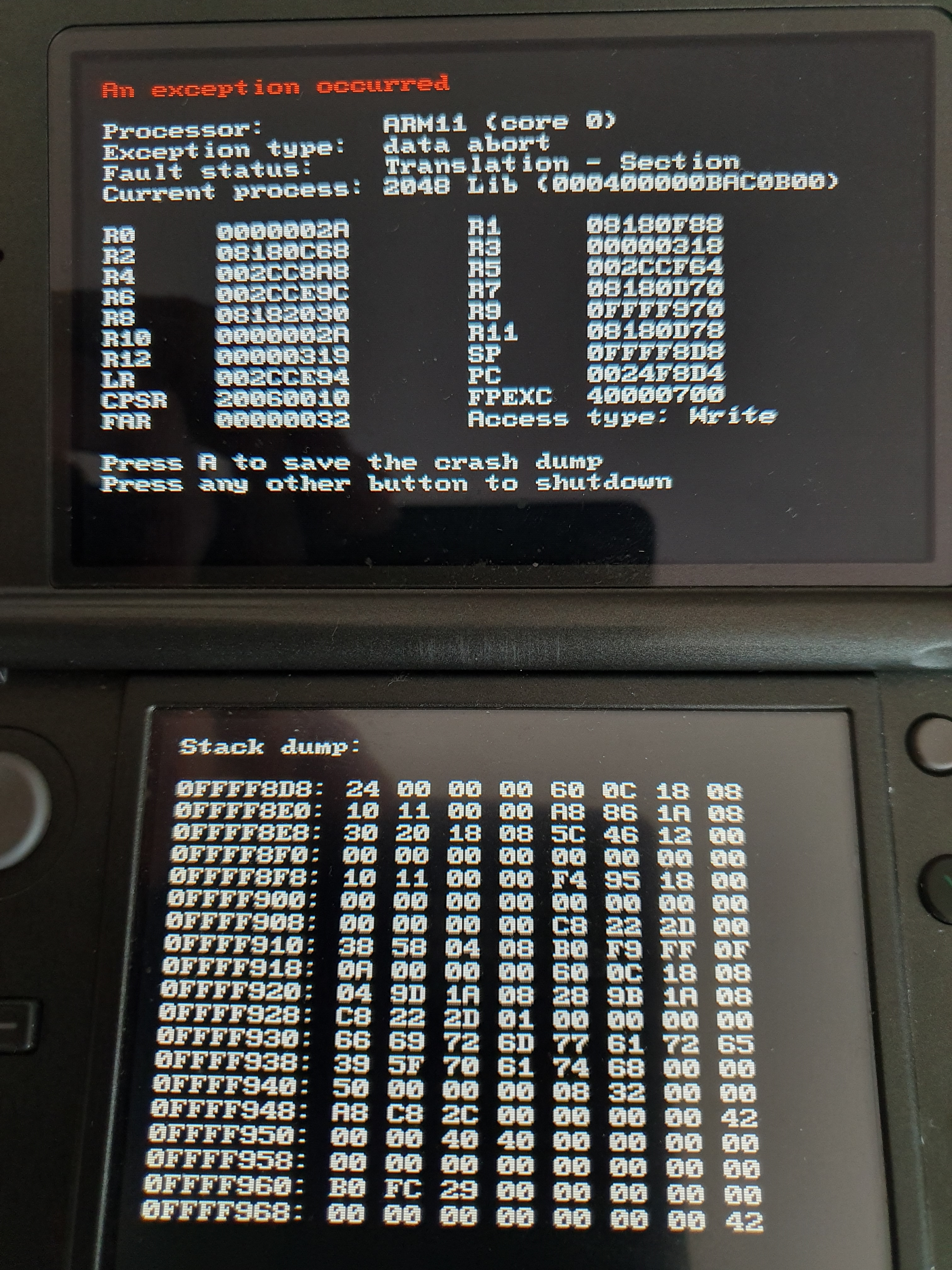 3DS cia builds crash after being started (since v1 7 7