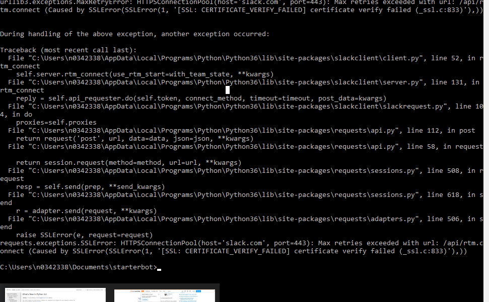 Ssl Certification Error Issue 325 Slackapipython Slackclient